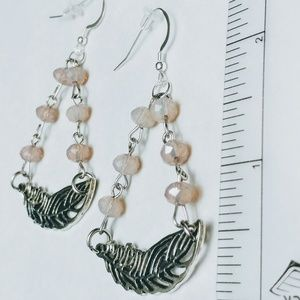 Pale Mauve Crystal & Feather Earrings
